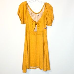 Love Fire Womens Dress M Mini Yellow Tie Front NEW